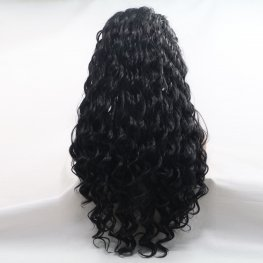 Curly black front lace wig